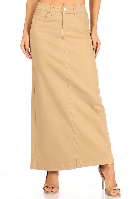 Ava Long Color Denim Skirt (Khaki)