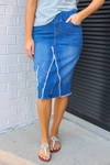 Becca Distressed Denim Skirt (Indigo)