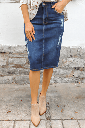 Jessica Distressed Dark Wash Denim Skirt