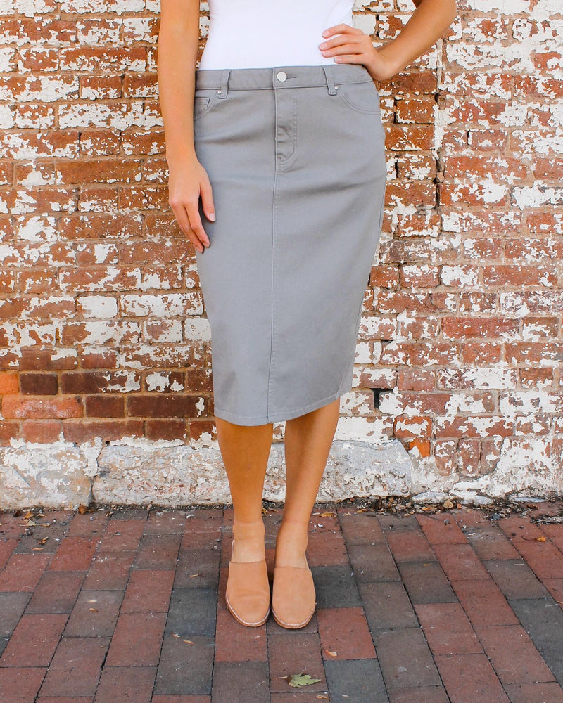 JDA Heather Gray Denim Skirt