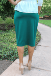 "24"" Hunter Green Ultra Comfort Ponte Knit Skirt"