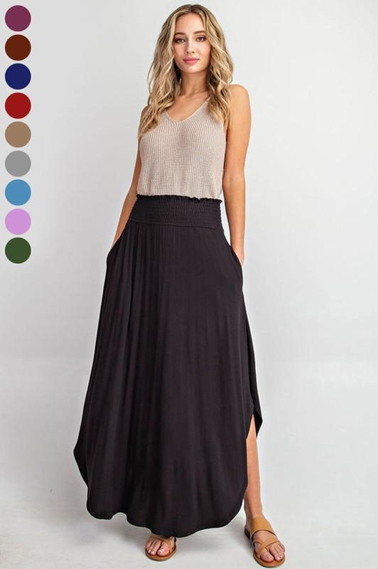 High-Rise Swing Maxi Skirt (BLK)