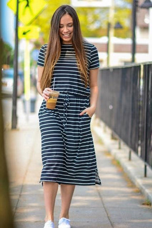 Striped Lounge Dress (BLK)