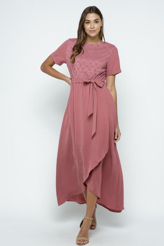 Marissa Lace Maxi Dress in Dusty Rose