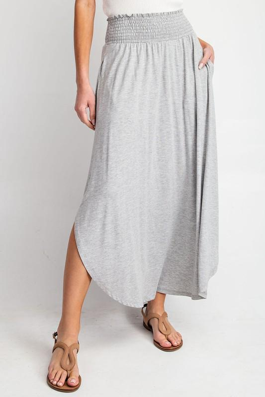 High-Rise Swing Maxi Skirt (Grey)