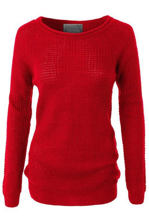 Keep You Warm Waffle Knit Sweater (Red)