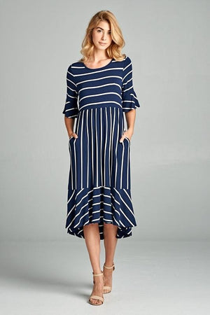 Hailey Ruffle Dress (Navy)
