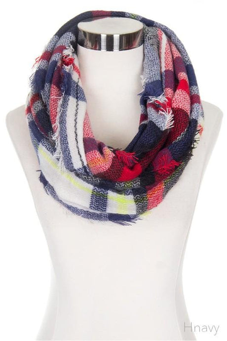 Plaid Infinity Scarf- Red/BLK/Navy