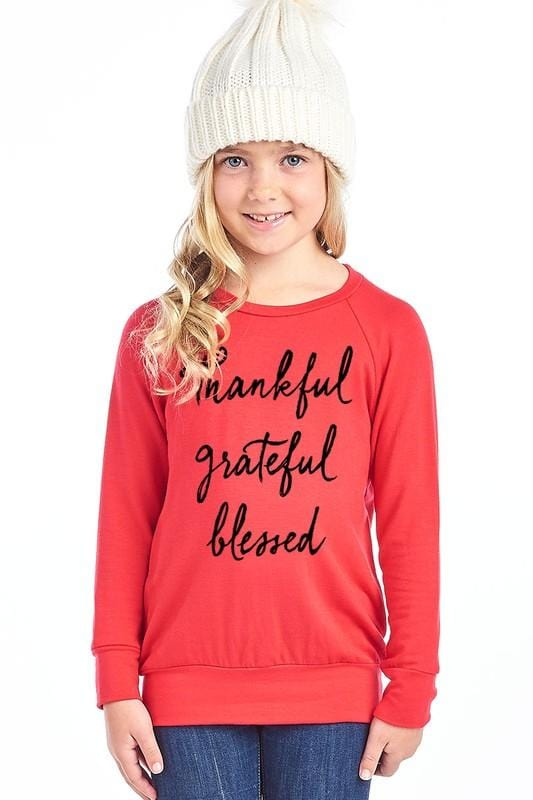 GIRLS Thankful Sweater (Red)