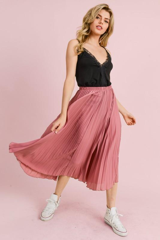 Pleated Midi Skirt (Mauve)