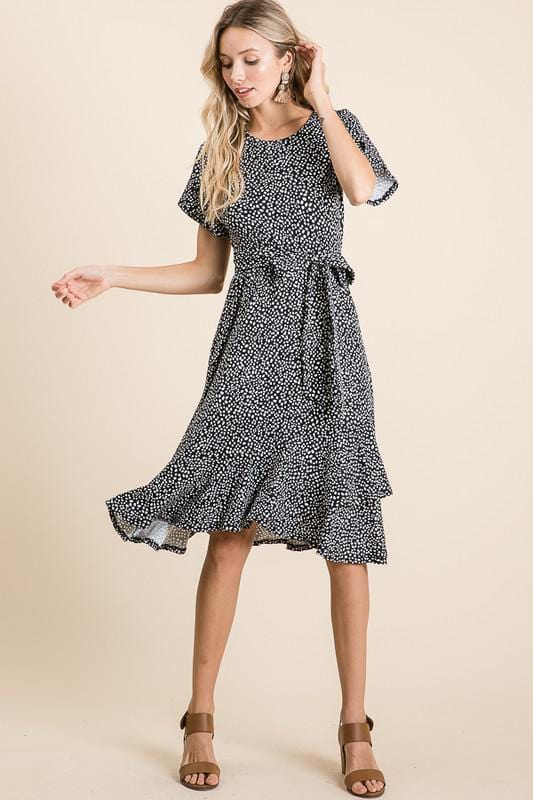 Tanzanian Pattern Swing Dress (BLK)