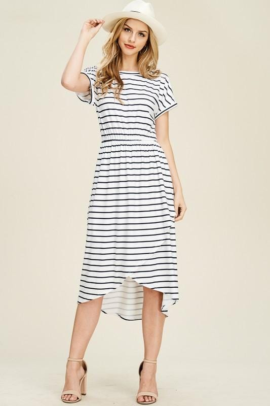 Stripe High Low Midi Dress