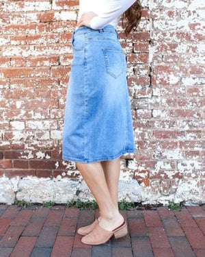 "24"" Bella Medium Wash Denim Skirt"