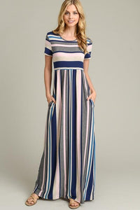 Zeanna Stripe Maxi Dress (Pink)