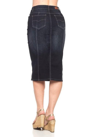 Panel Denim Skirt (BLK)
