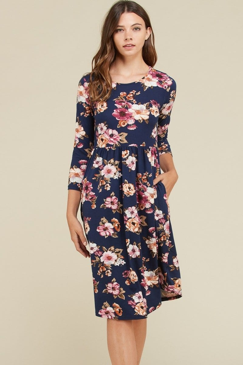 Kary Floral Dress (Navy)