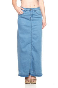 Sky Blue Long Denim Skirt