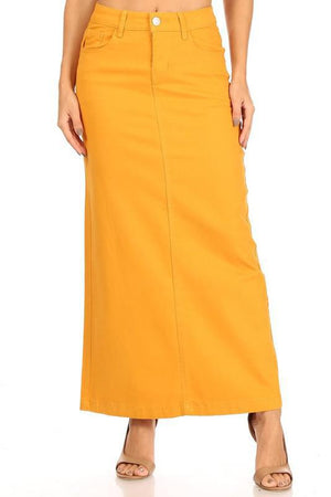 Ava Long Color Denim Skirt (Mustard)