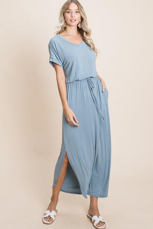 V-Neck Maxi Lounge Dress in Denim Blue