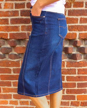 Panel Dark Wash Denim Skirt