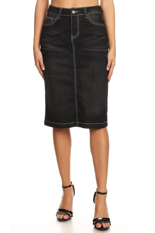 Ella Black Denim Skirt