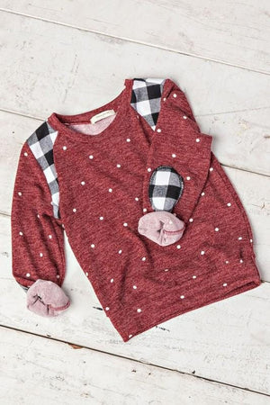 GIRLS Snow Fall in Plaid Sweater-Burgundy