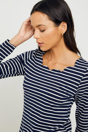 Scallop Striped Blouse (Navy)