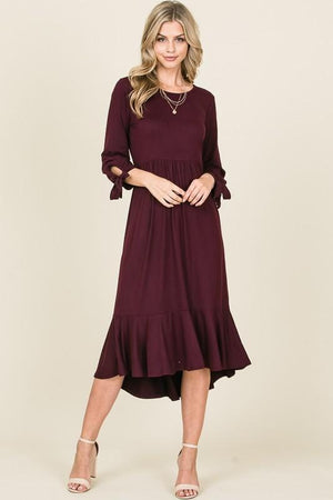 Ruffle Midi Layering Dress (Wine)