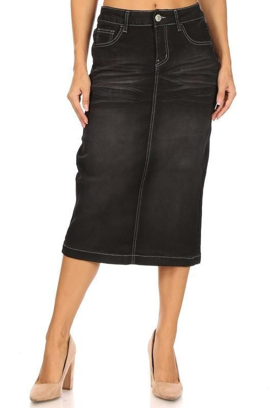 Emily Black Denim Skirt