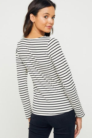 Scallop Striped Blouse (BLK)