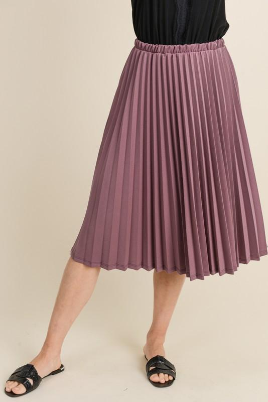 Pleated Midi Skirt (Plum)