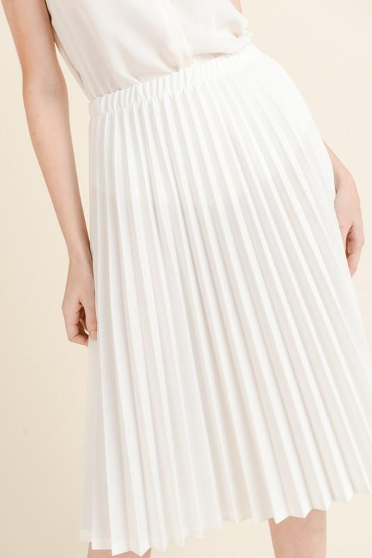 Pleated Midi Skirt (Ivory)