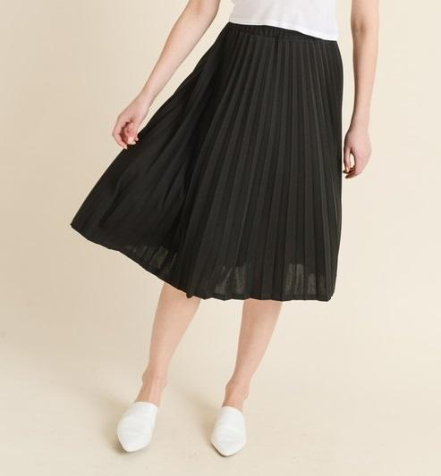Pleated Midi Skirt (BLK)