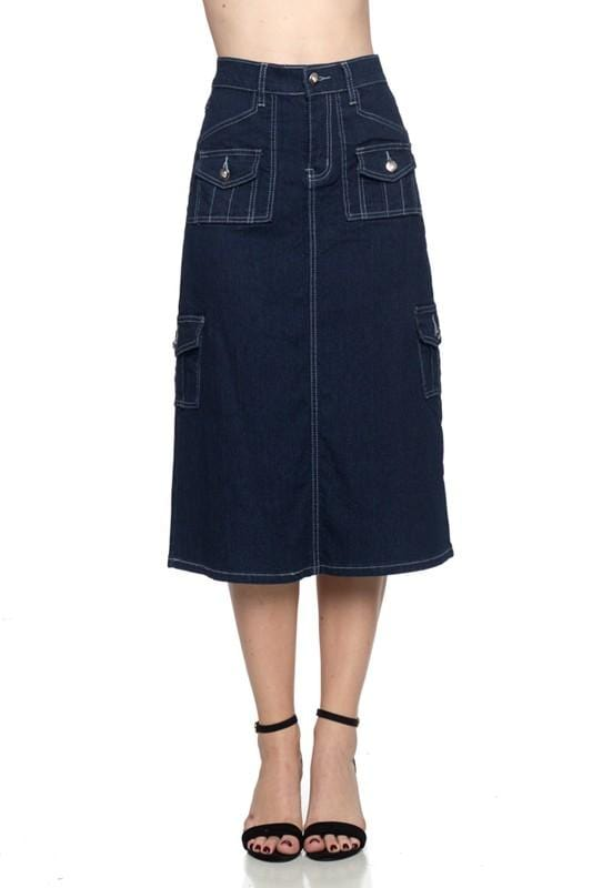 Cargo Blue Denim Skirt