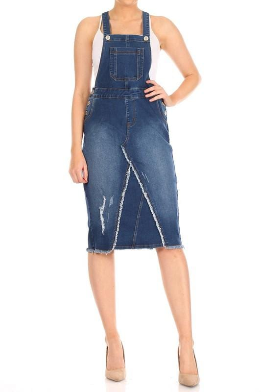 Distressed Denim Overalls (Indigo)