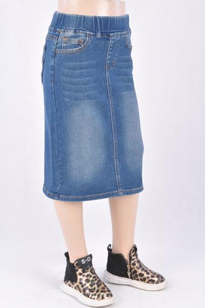 GIRLS Classic Waistband Denim Skirt (Vintage)