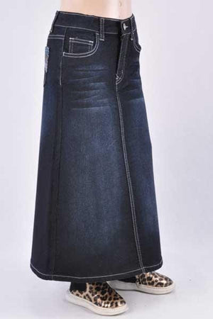 GIRLS Brittany Long Denim Skirt (BLK)