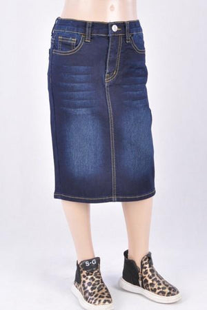 GIRLS Emily Wash Denim Skirt (Dk. Indigo)