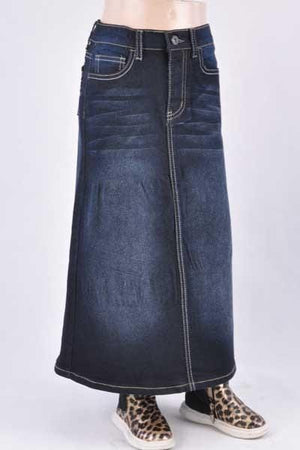 GIRLS Kiara Long Denim Skirt (BLK)