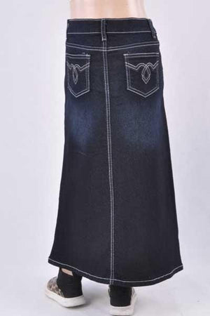 GIRLS Maya Long Denim Skirt (BLK)