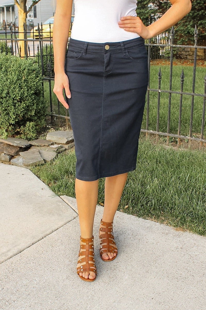 "26"" Navy Denim Skirt"