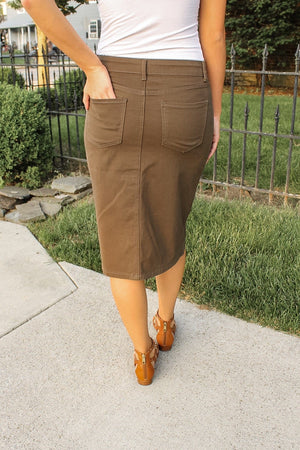 "26"" Olive Denim Skirt"