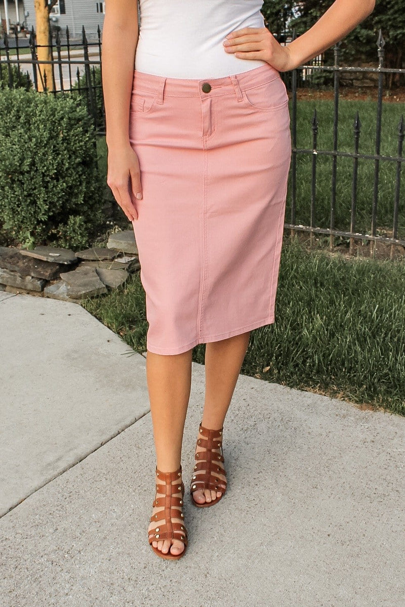 "26"" Blush Denim Skirt"