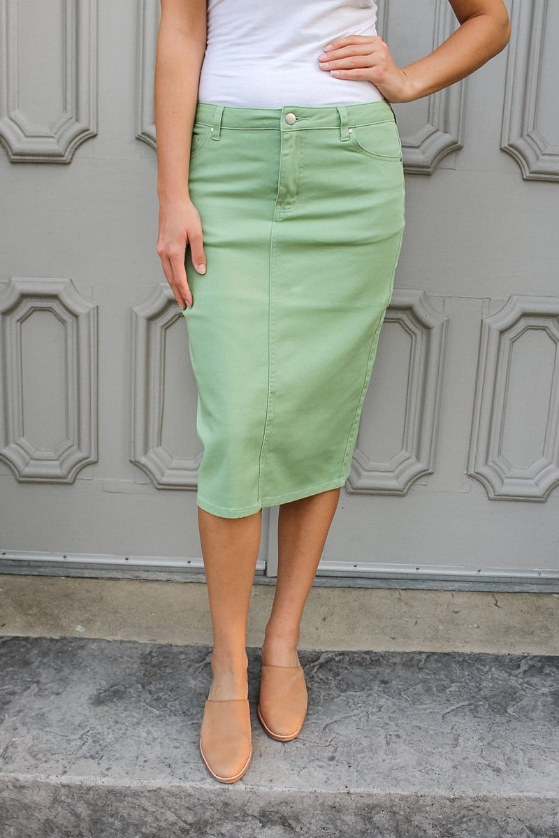 "24"" JDA Mint Green Denim Skirt"