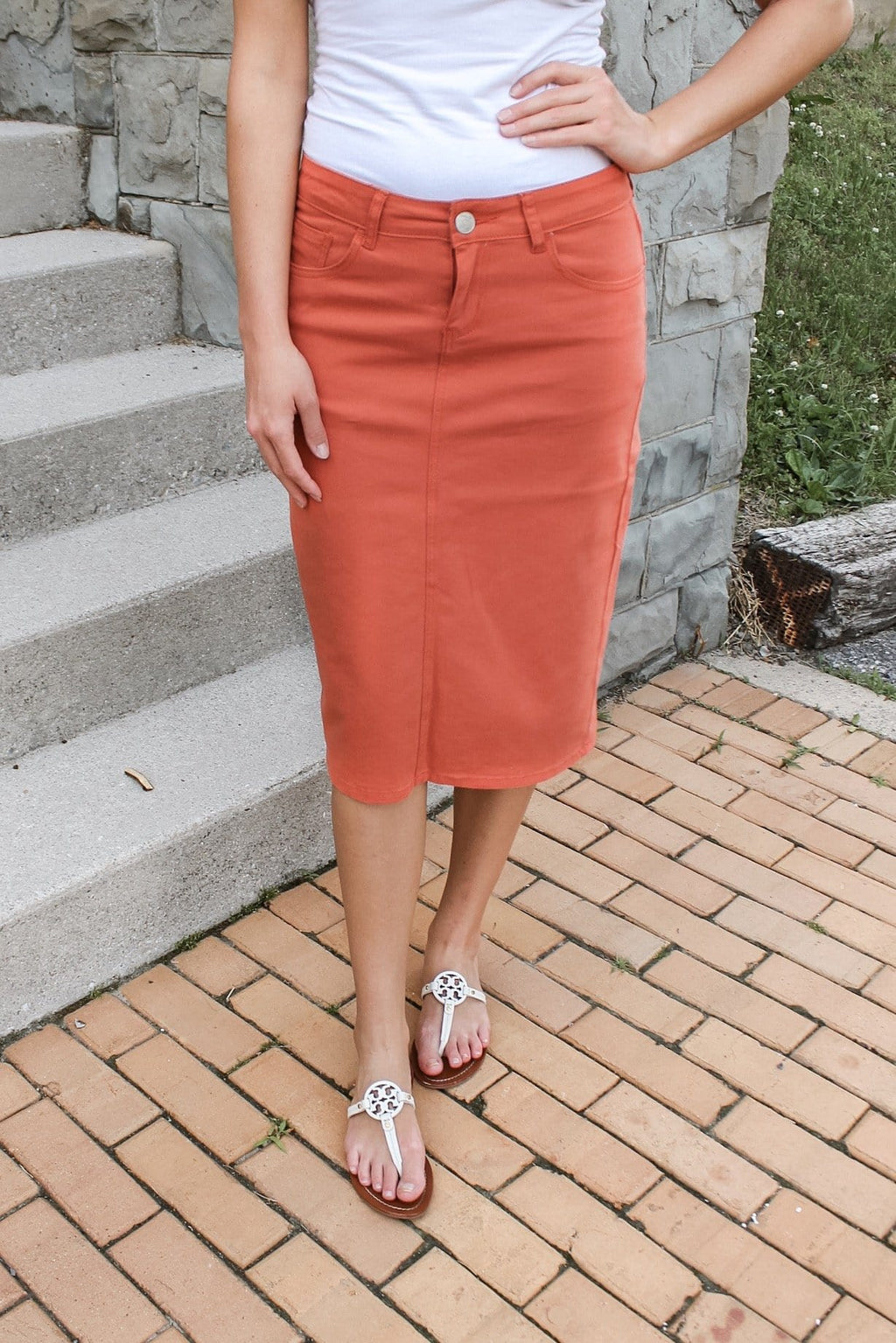 "26"" Burnt Orange Denim Skirt"