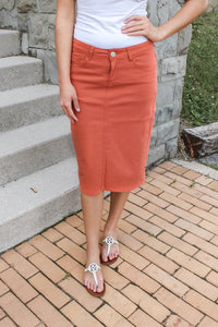 Remi Burnt Orange Denim Skirt
