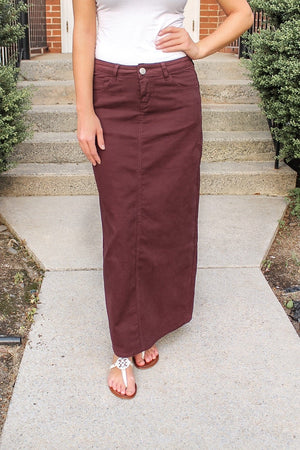 Hailee Long Denim Skirt (Wine)
