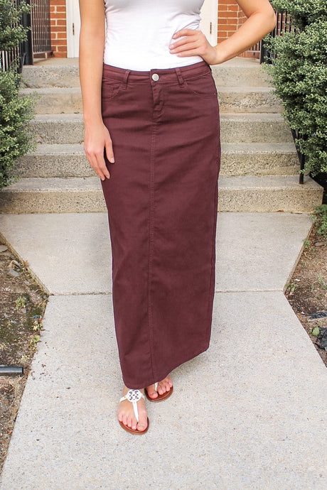 Stella Wine Denim Skirt