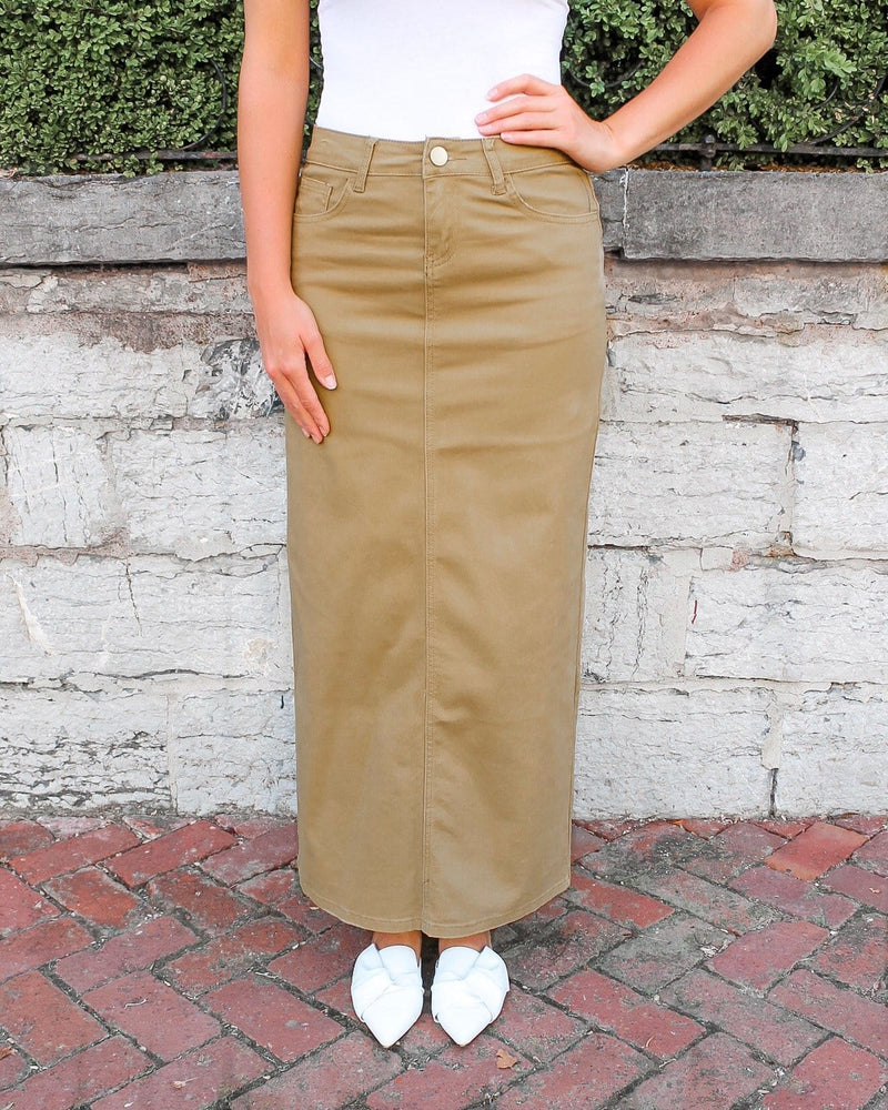 Hailee Long Denim Skirt (Khaki)