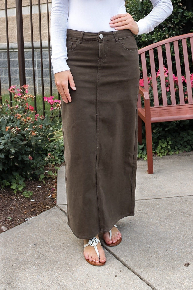 Hailee Long Denim Skirt (Olive)